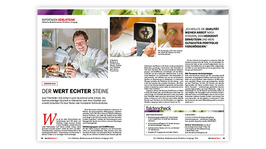 """Presse: Der Wert echter Steine, Infomappe durchstarten """"12.5 Edelsteine, Musikinstrumente (Produktion, Fertigung)"""" der Bundesagentur für Arbeit, 2016, Überblick: biz-medien.de"""
