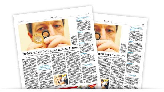 Presse: Zu diesem Juwelier kommt auch die Polizei, WESER-KURIER, 16. August 2010